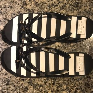 Kate spade black & white striped platform wedges